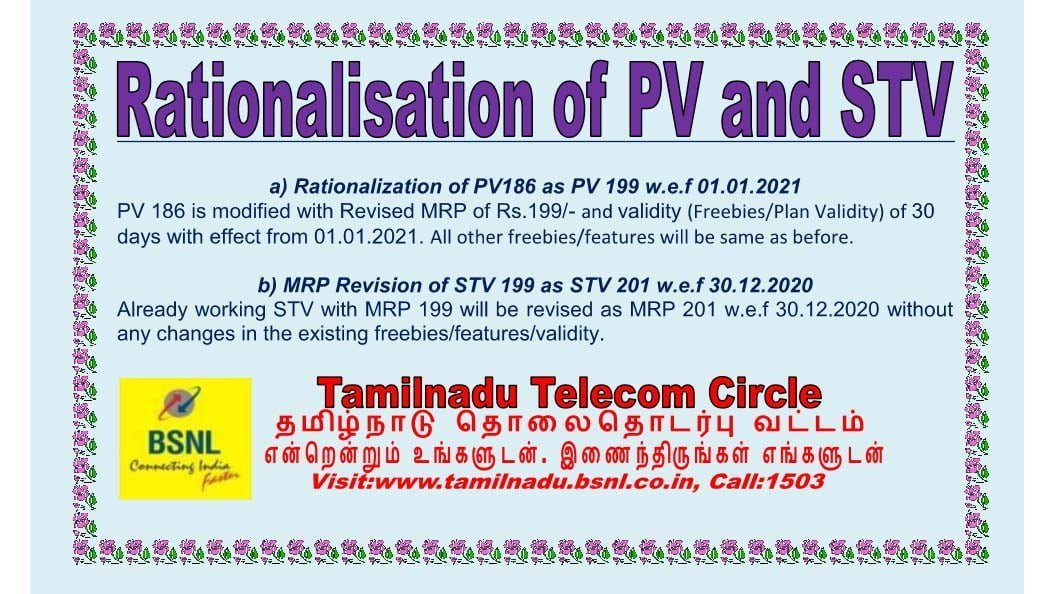 BSNL Rationalization STV PV 2020