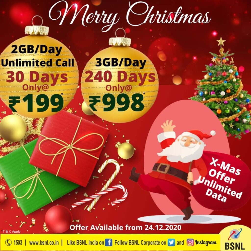 BSNL to launch Rs 199 Plan Voucher and offer 3GB/day on STV 998 from 24th December