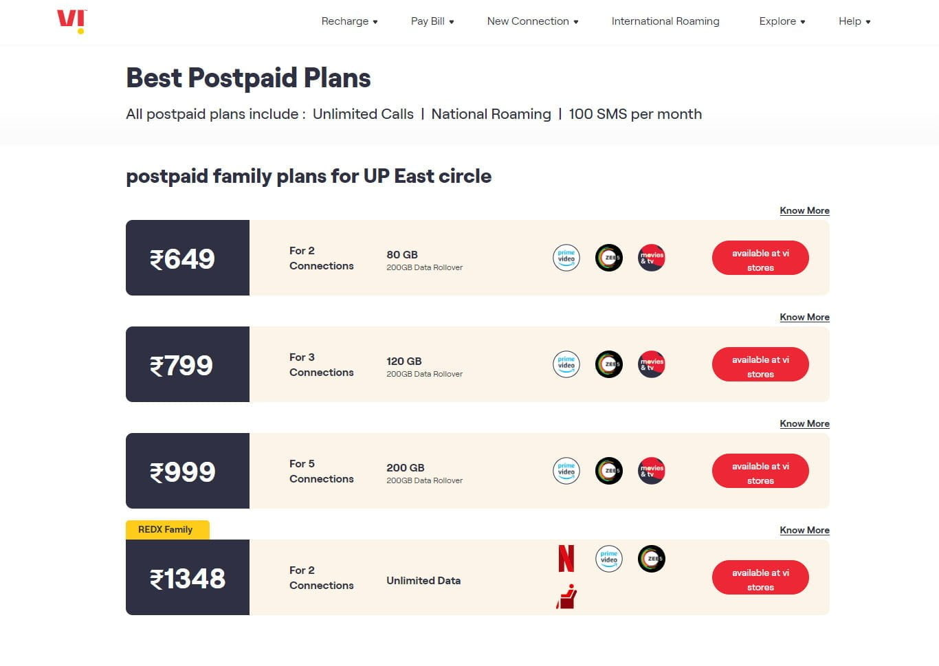 Vi's REDX Family Postpaid Plan now available at Rs 1348