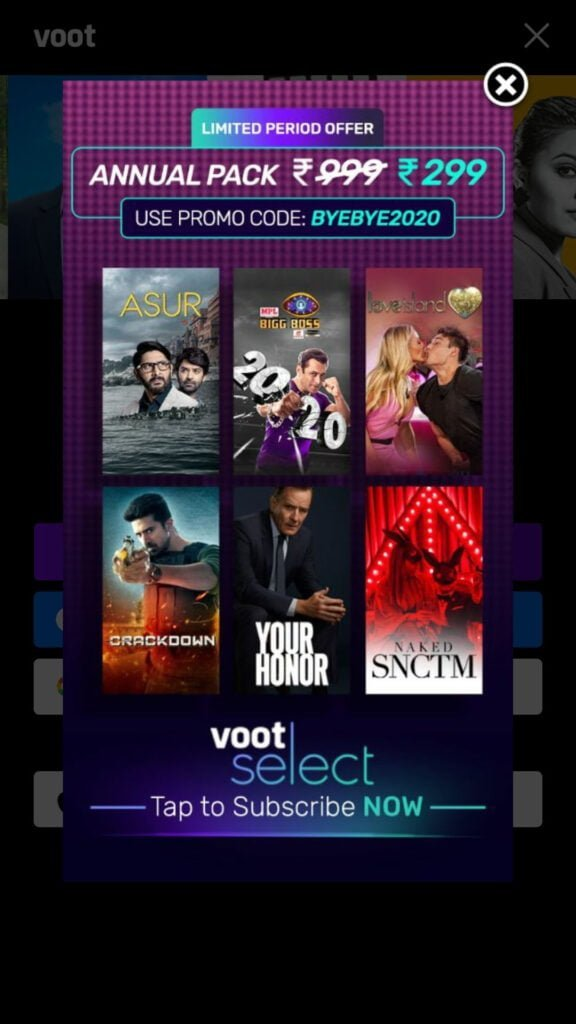 Voot Select annual pack available at Rs 299 as year-ender offer
