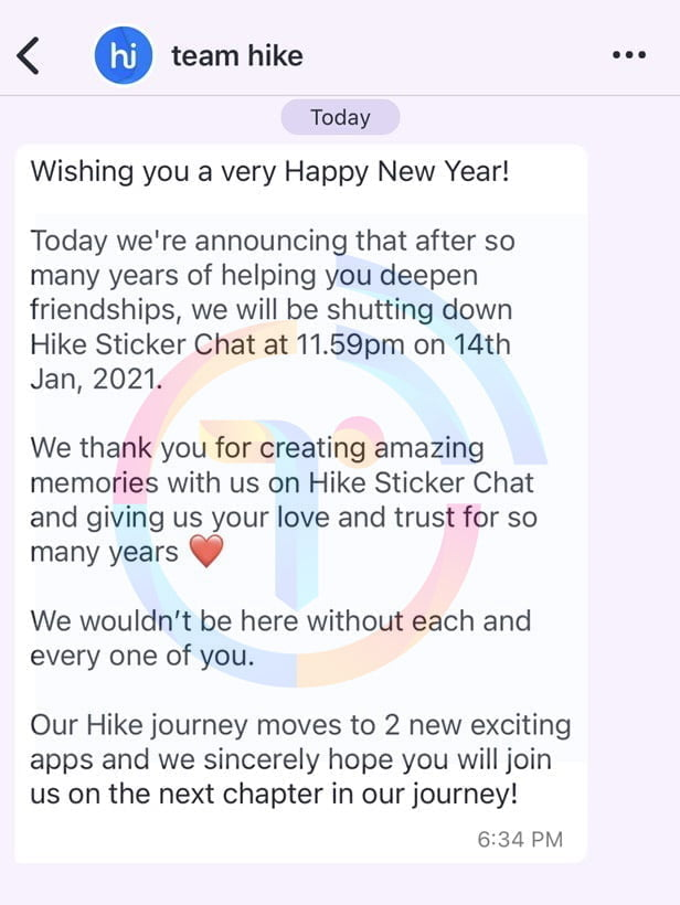 Hike to shut down 'Hike Sticker Chat' on 14th January 2021