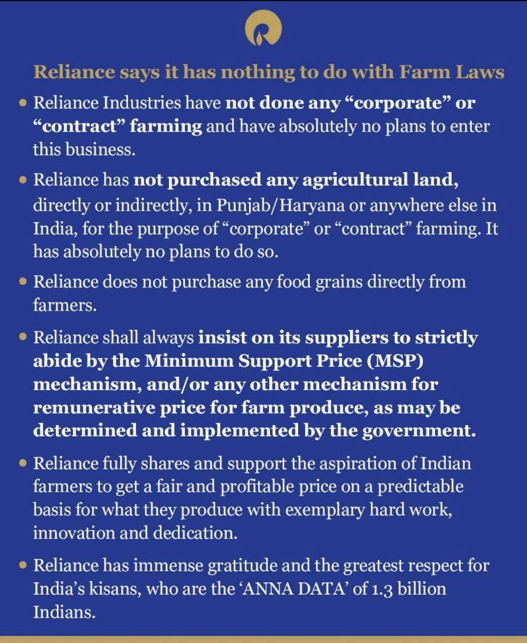 RJIL Farm Laws