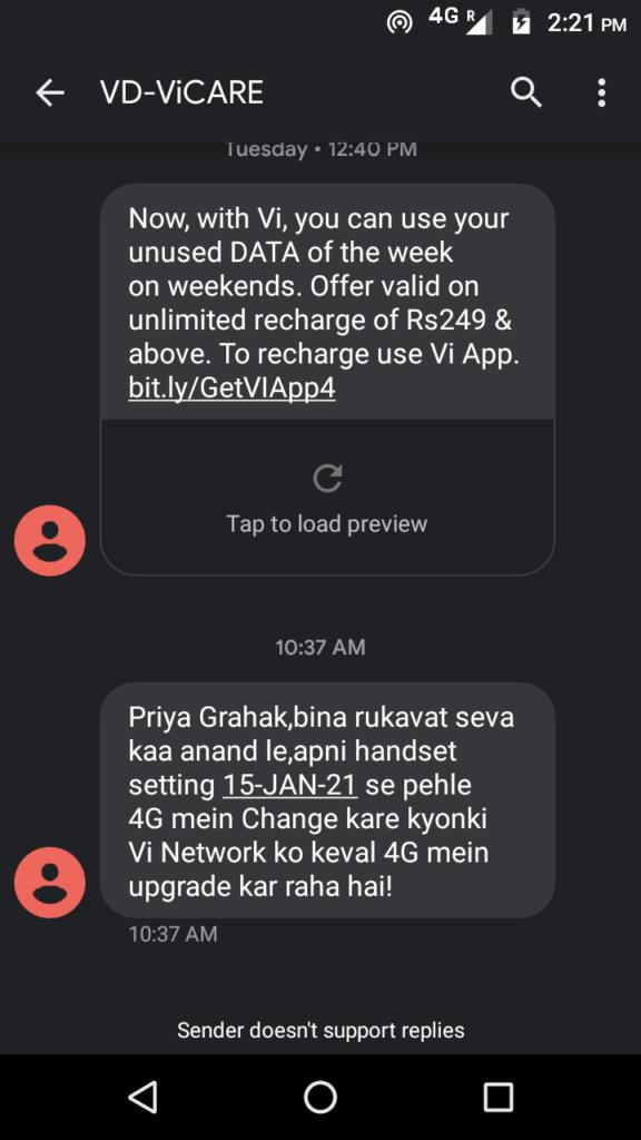 Vi 3G shutdown Delhi