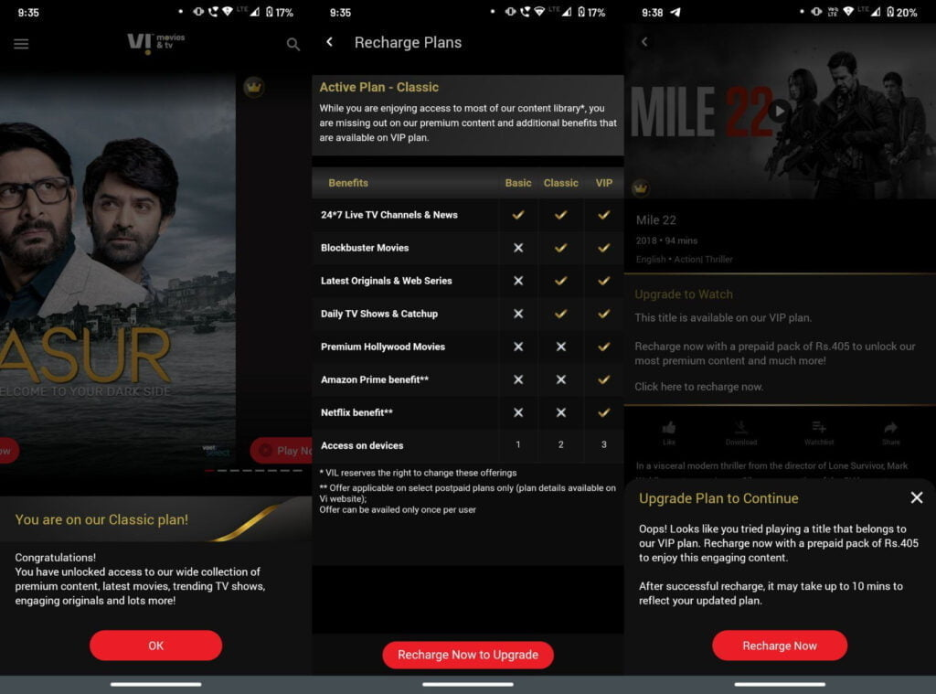 Vi Movies and TV now has Basic, Classic, and Premium tier of access