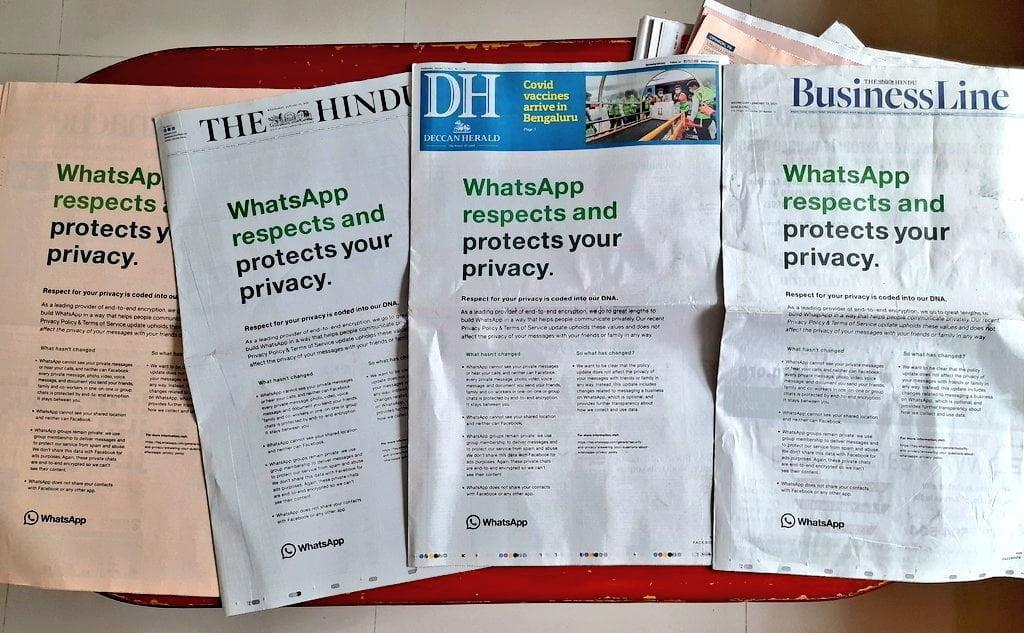 WhatsApp Newspaper Ad