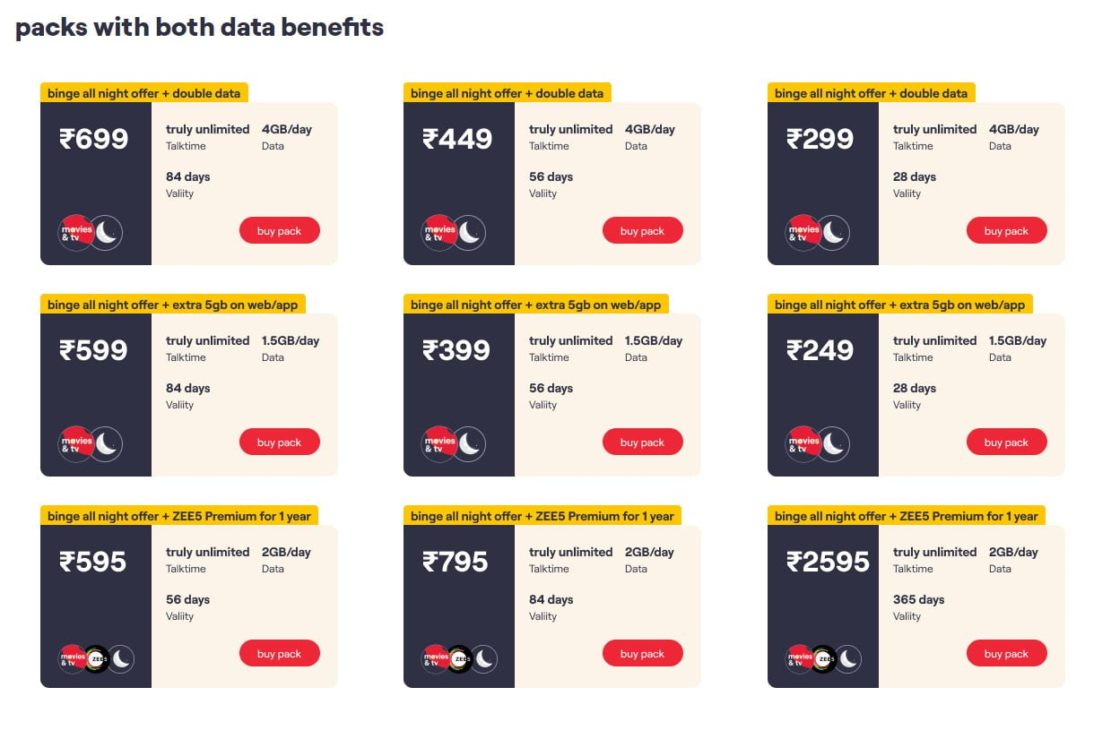 Vi Binge All Night Data Eligible Recharges