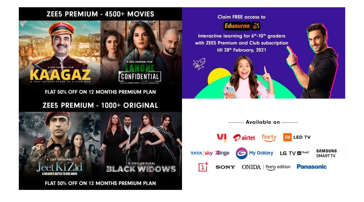 ZEE5 offers ZEE5 Premium at 50% off as anniversary offer till 28th February 2021