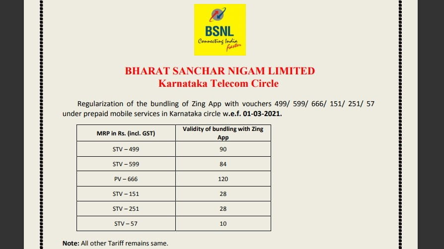 BSNL regularises bundling of Zing app with select prepaid vouchers