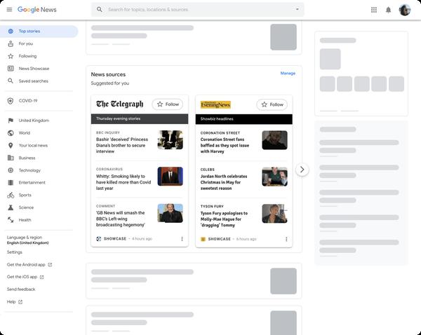 Google News Showcase on Desktop
