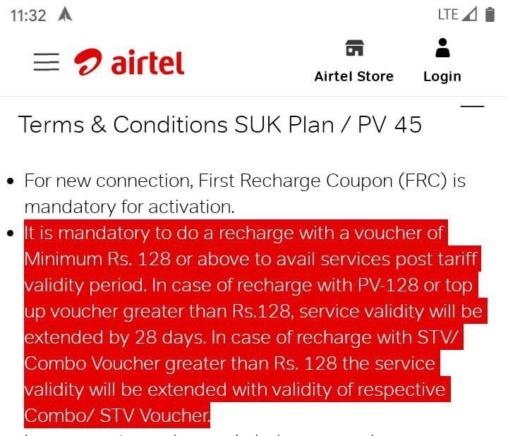 Airtel Rs 45 SUK Plan
