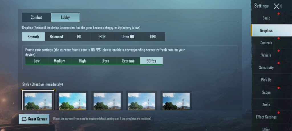 BGMI Graphics Settings