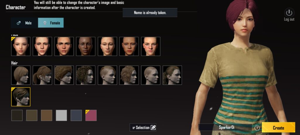 BGMI Initial Character Selection