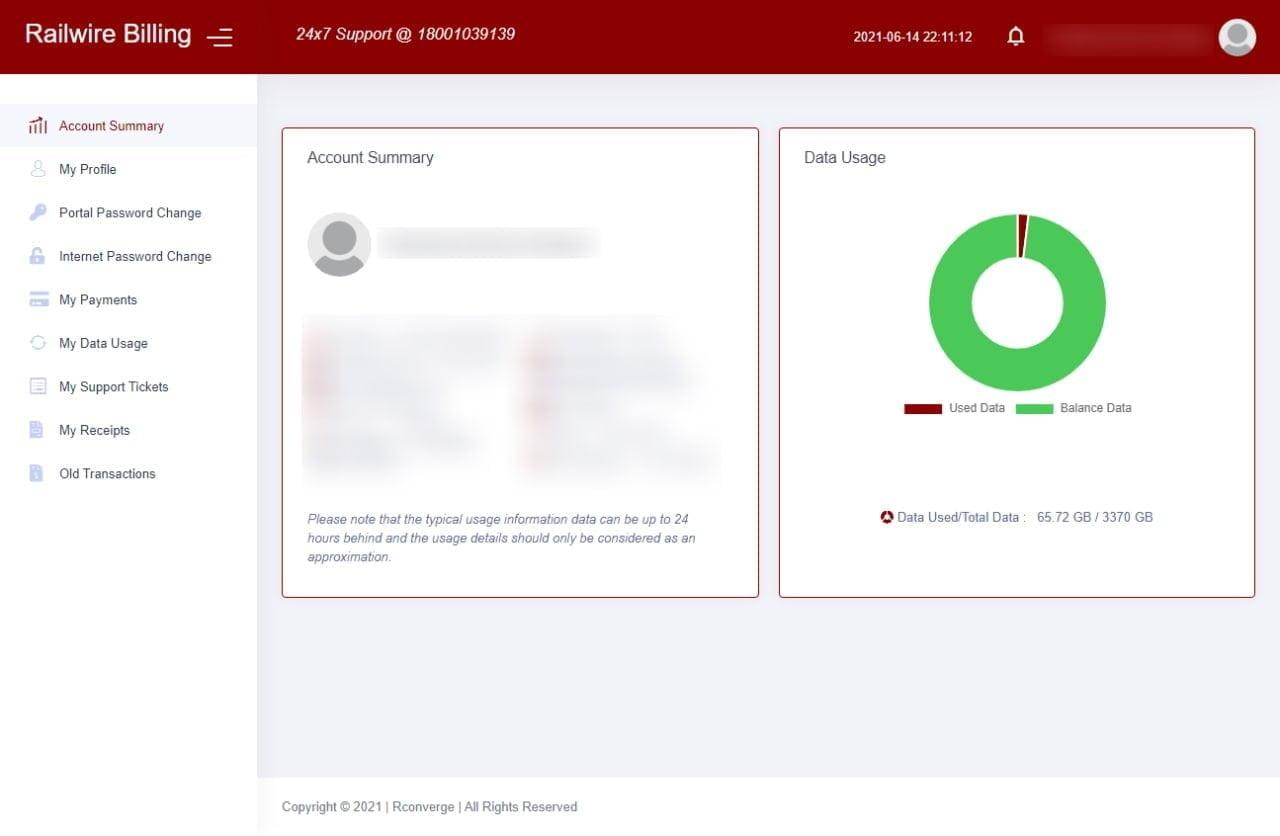 Railwire Selfcare Account Summary