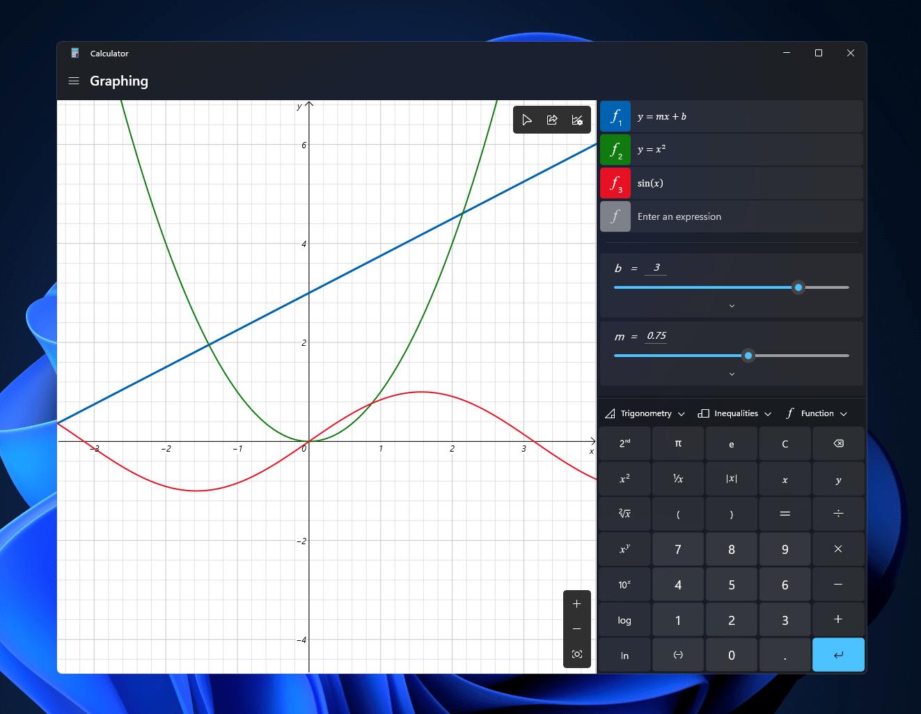 Windows11 Calculator Graphing