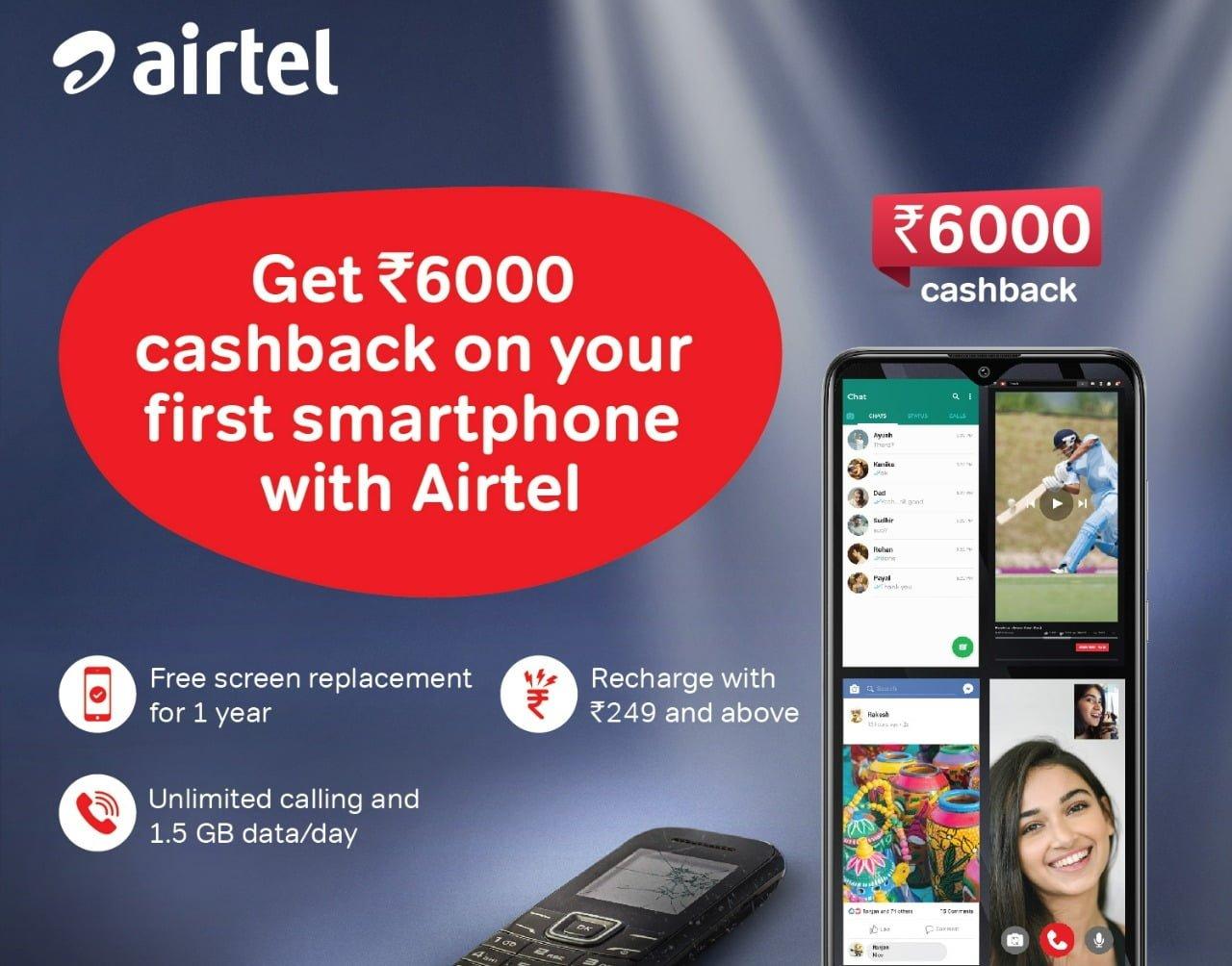 Airtel Rs 6000 cashback